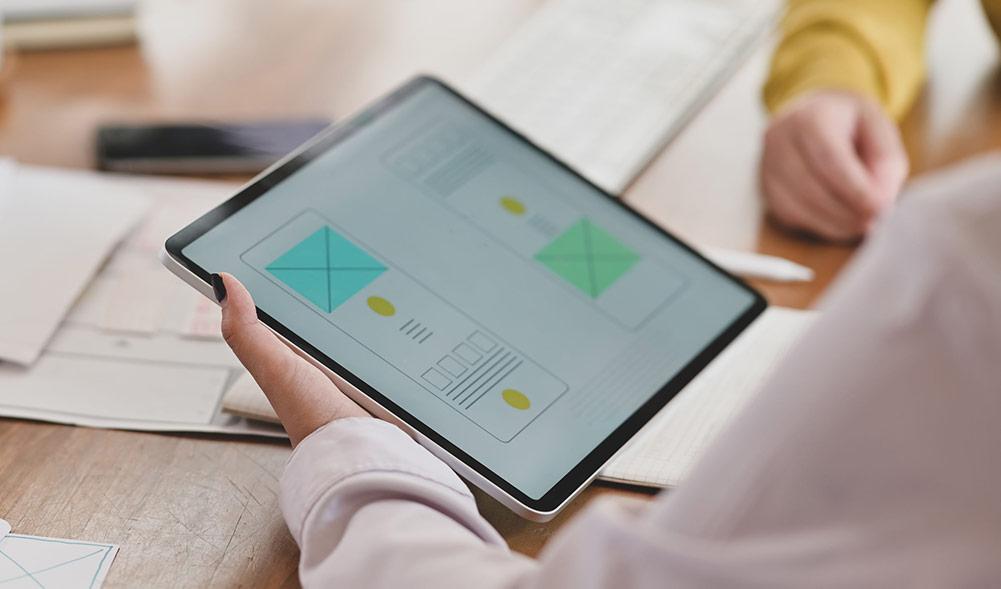 App mockup on a tablet