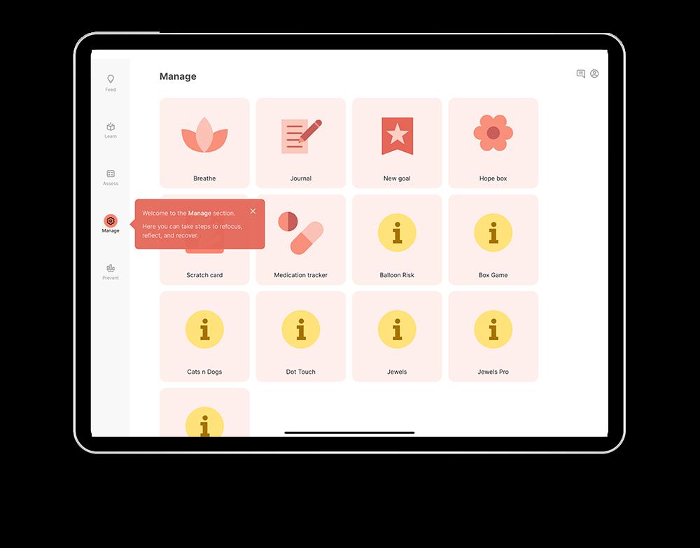Manage screen on the LAMP iPad app