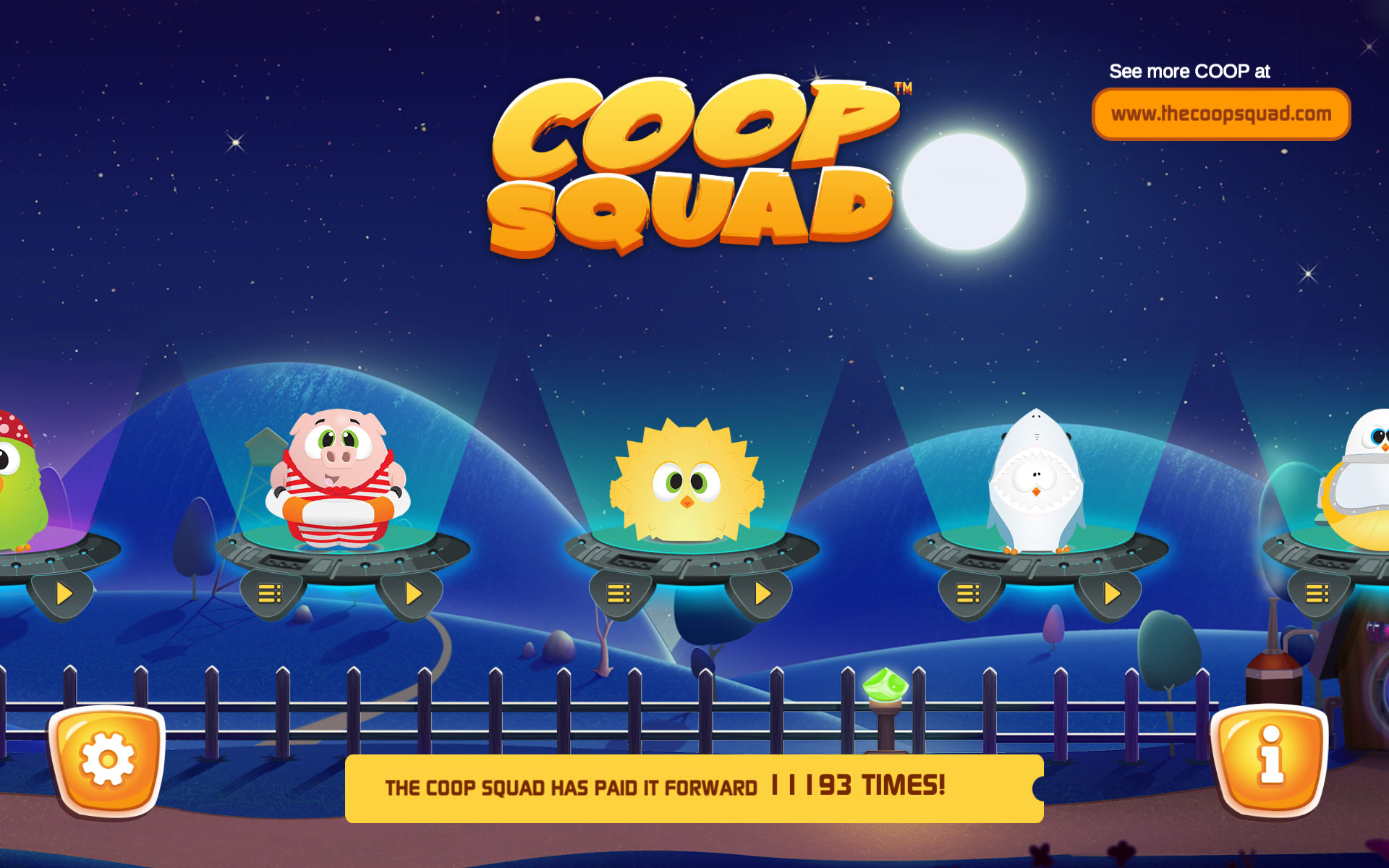 Select one of several Coop Squad characters