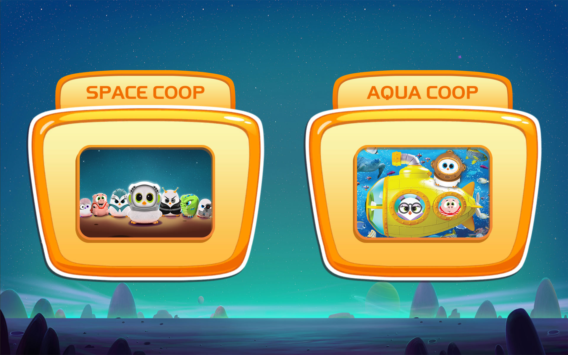 Choose between space and aqua coop game modes
