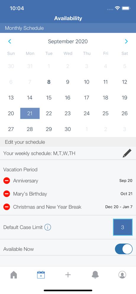 Calendar from the MRIoA app