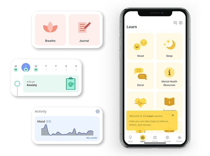 mindLAMP app images on iPhone X