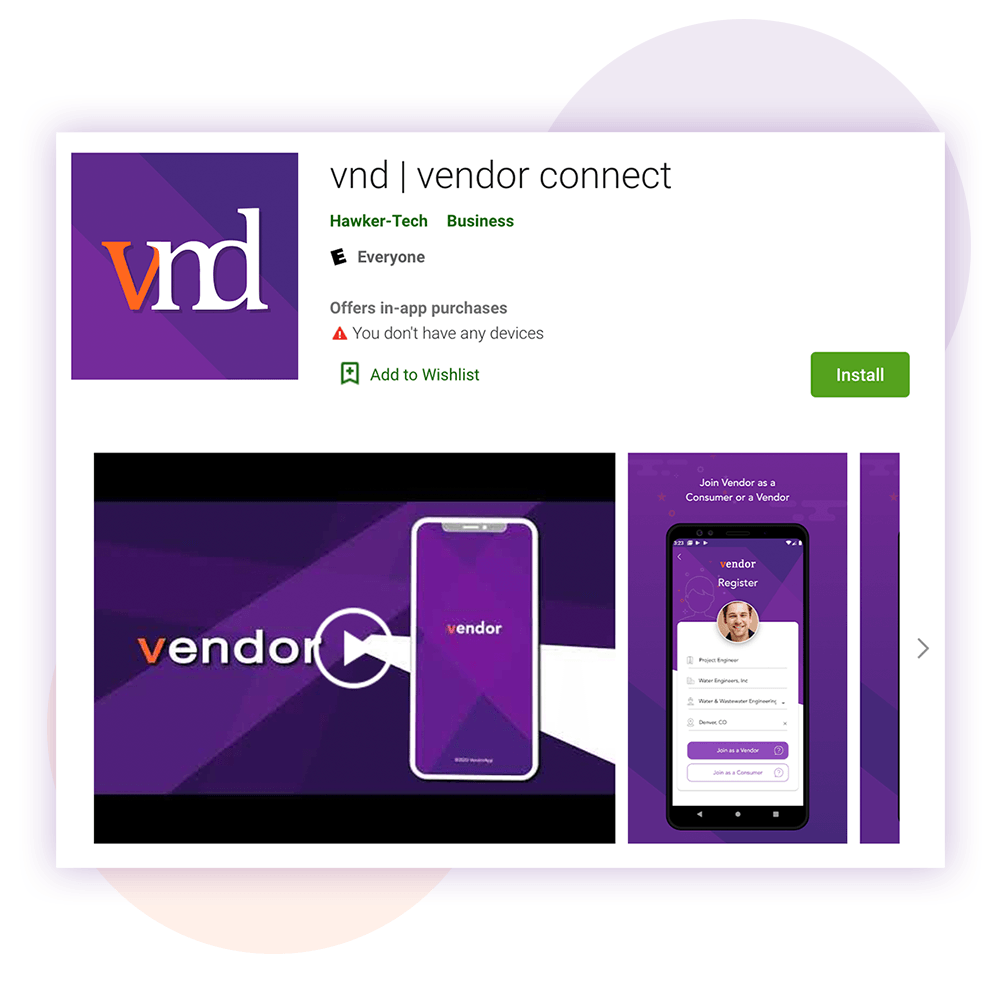Vendor app on the Play store