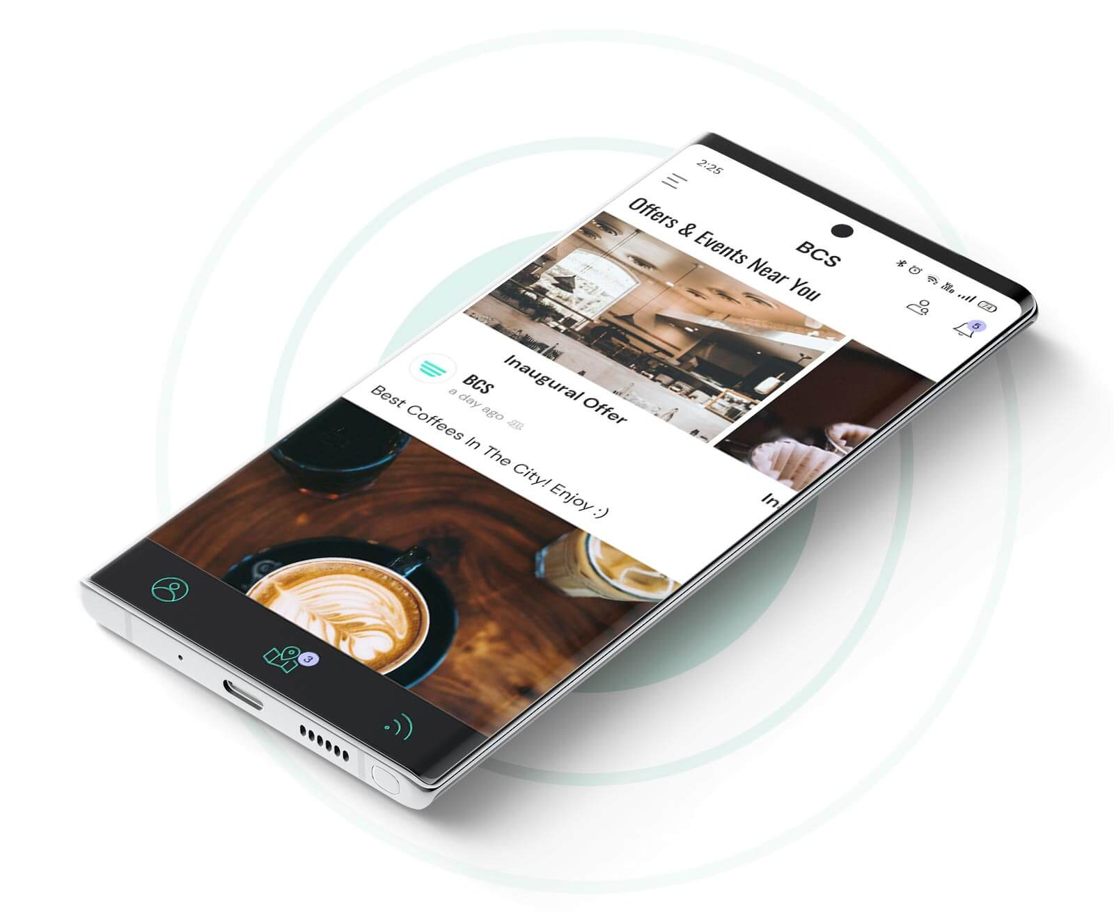 The Best Coffee Shops app shown on a Samsung Galaxy Note