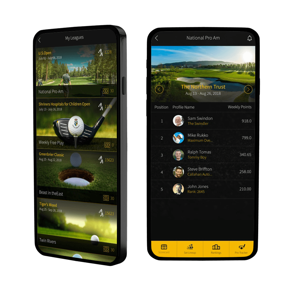 the TDJ fantasy golf app running on Android devices