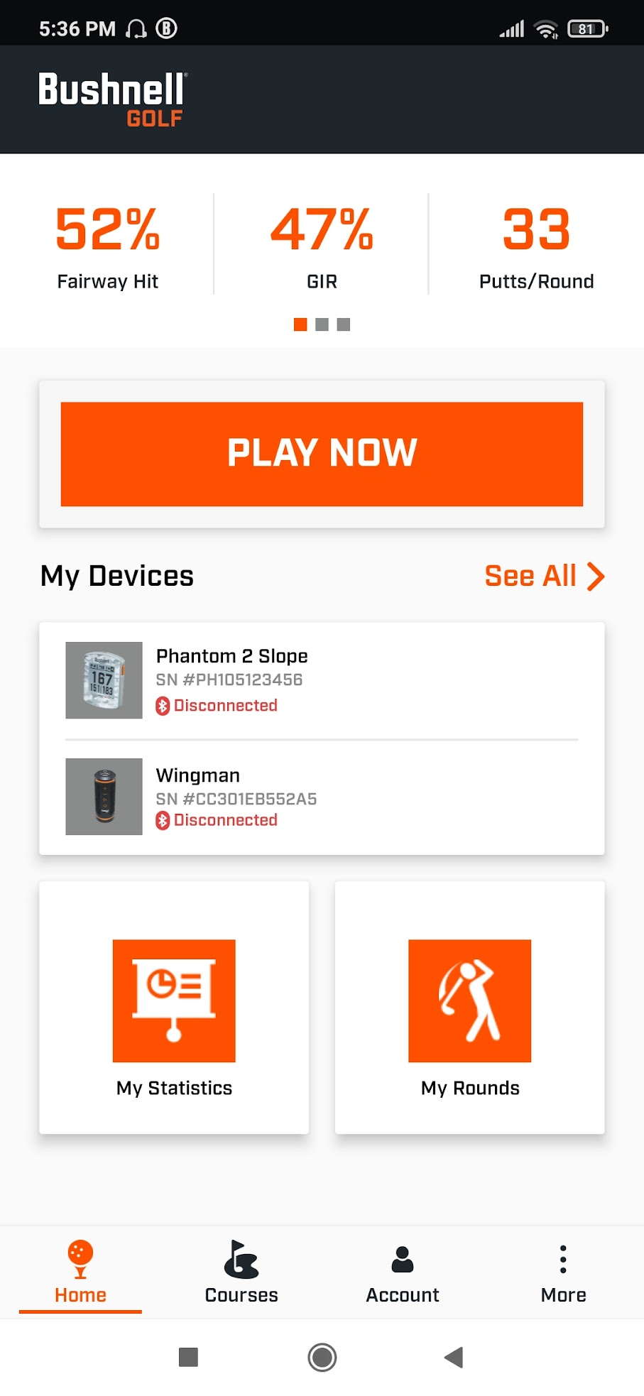 The home screen of the Bushnell app