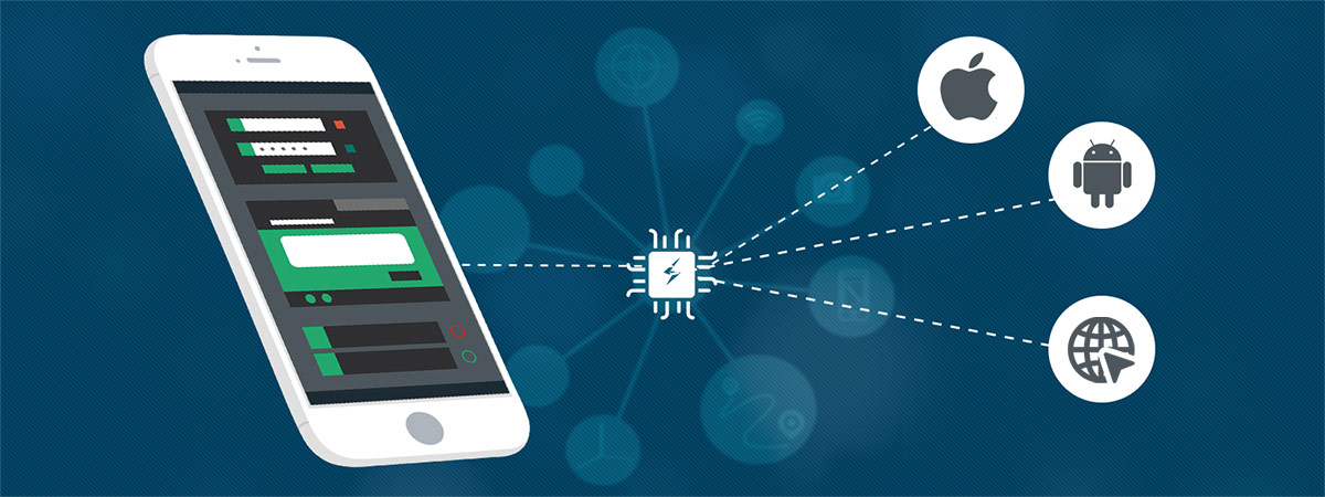 Depiction of testing apps on multiple platforms